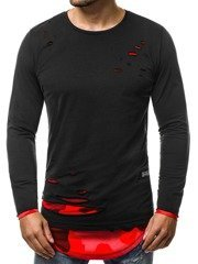 15199ae6ab483 Camiseta de manga larga de hombre negro-roja OZONEE O 1229