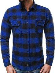OZONEE ZAZ 1318 Camisa de hombre azul-negro 97b8dc2140a