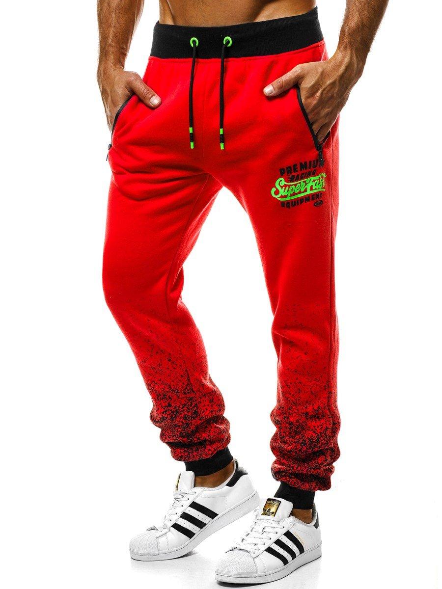 4fb47d981a ... OZONEE JS 55010 Pantalón de chándal de hombre rojo ...