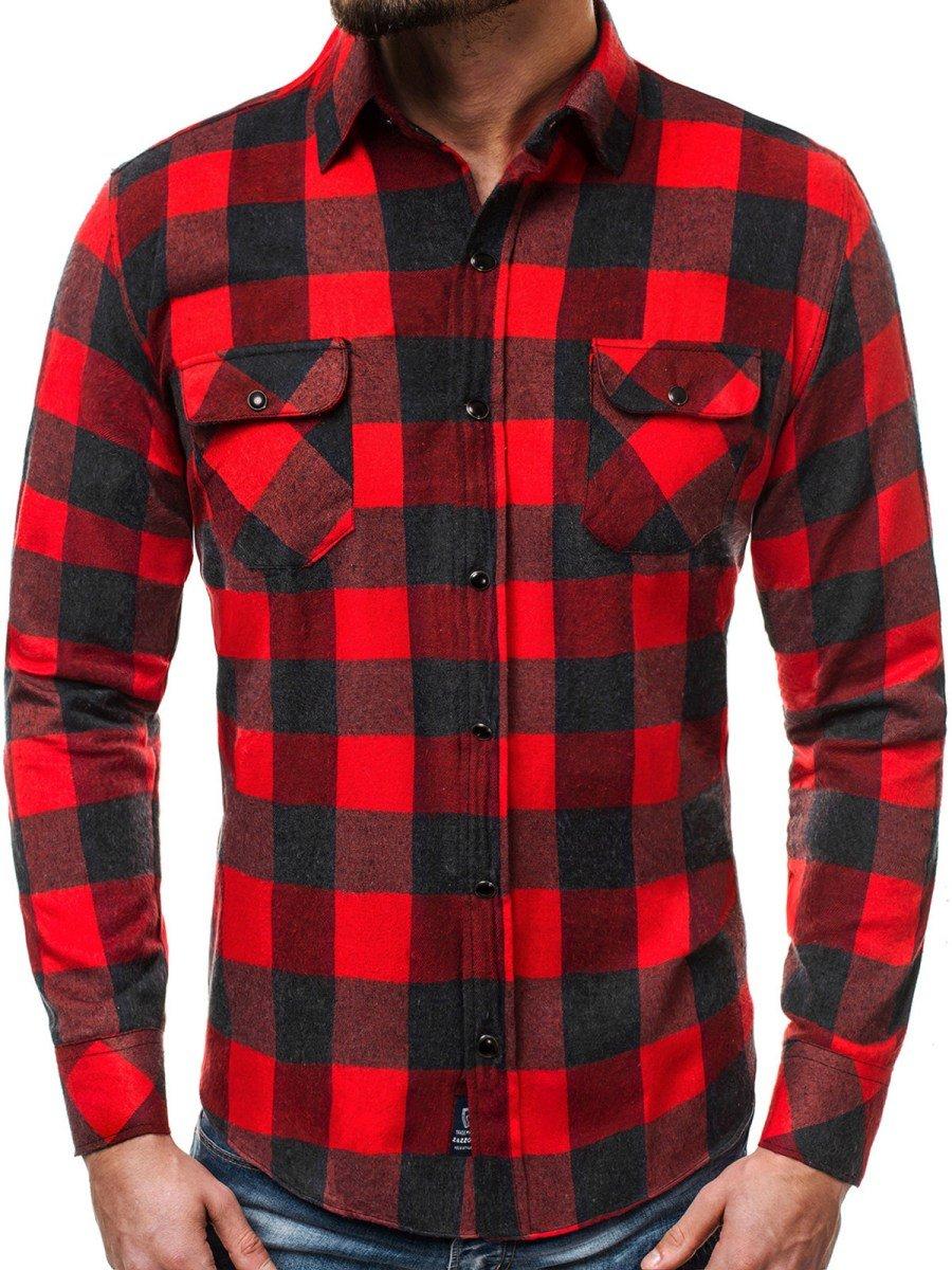 04e72751f ... OZONEE ZAZ 1318 Camisa de hombre negro-roja ...