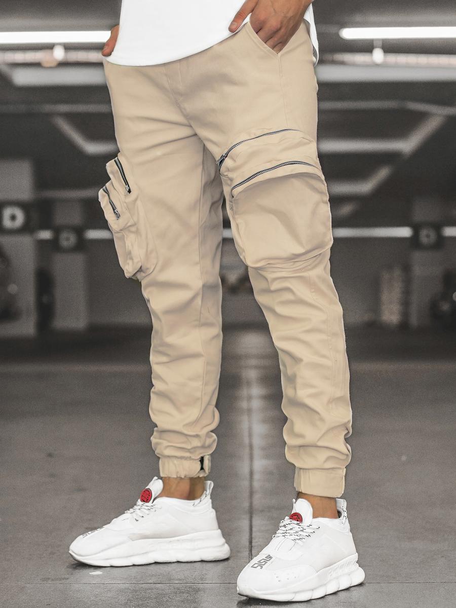 Pantalón jogger de hombre beige OZONEE C/2046 | OZONEE