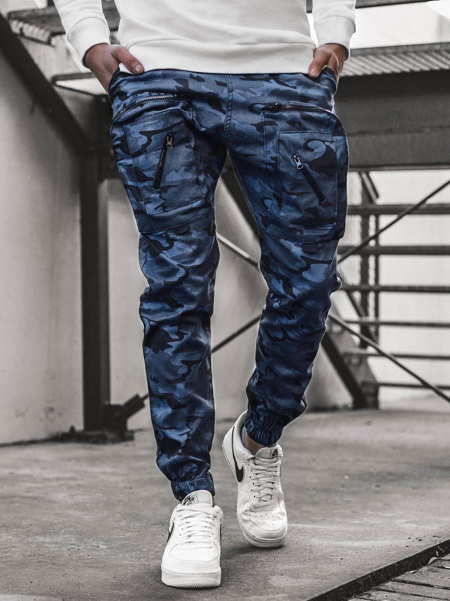 Pantalon Jogger De Hombre Camuflaje Azul Marino Ozonee O 11107 Ozonee