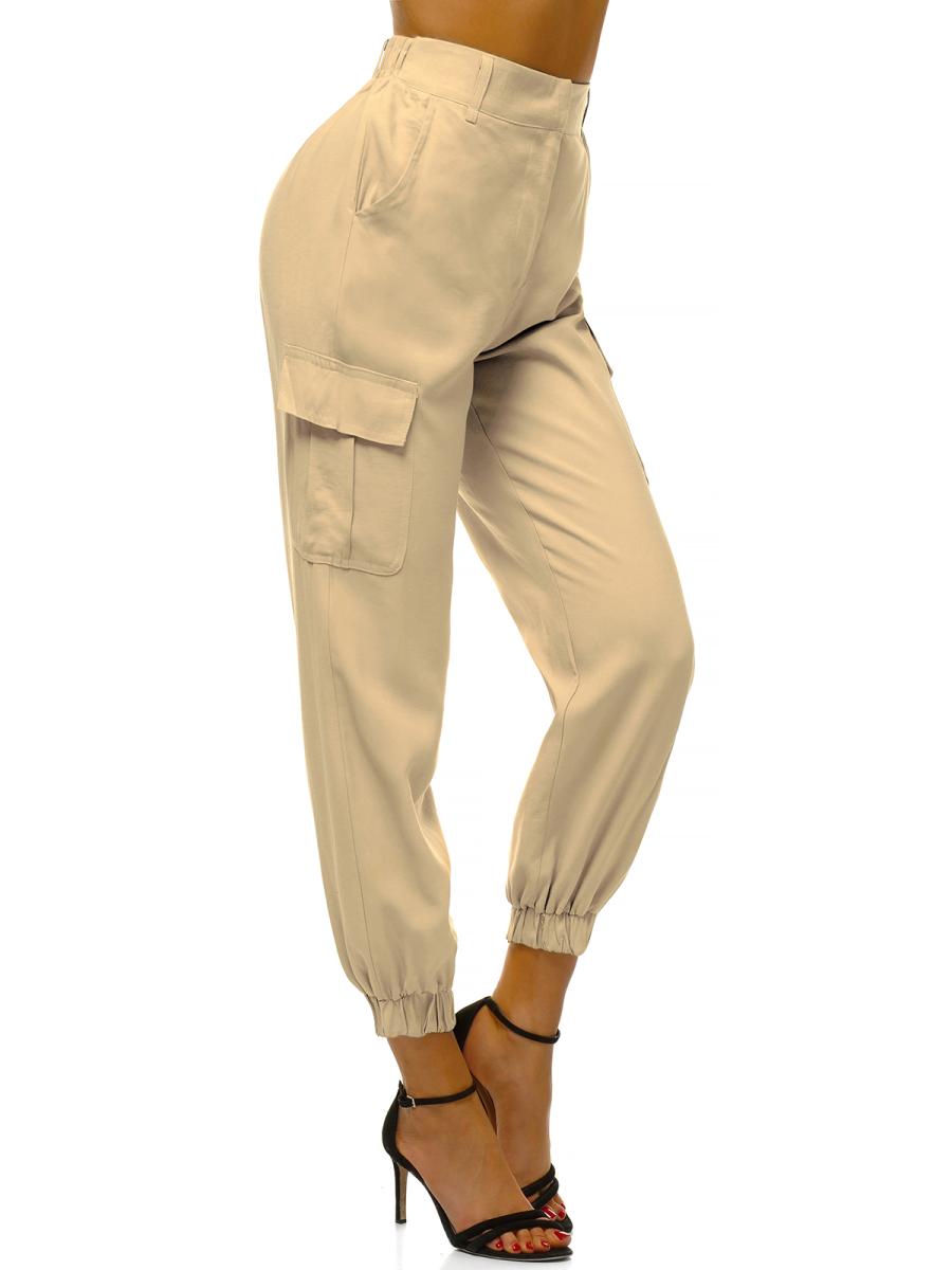 Pantalones Jogger Para Mujer Beige Claro Ozonee O Hm005 Ozonee