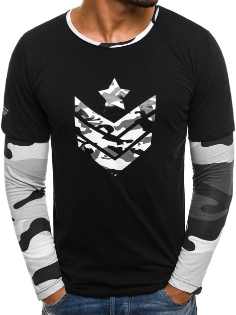 ATHLETIC 1154 Camiseta de manga larga de hombre negro-blanco